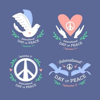 フラットなデザインの国際平和ラベルの日