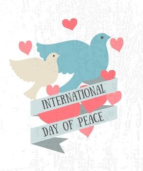국제 평화의 날 벡터 일러스트 레이 션 평면 디자인 스타일 평화 아이콘의 날 비둘기 심장