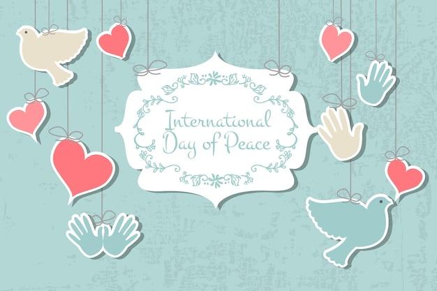 국제 평화의 날 벡터 일러스트 레이 션 평면 디자인 스타일 평화 아이콘의 날