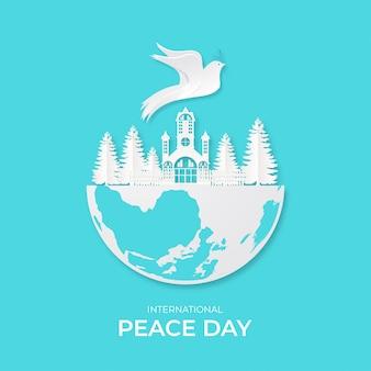 Международный день мира. векторные иллюстрации из белой бумаги вырез голубей.