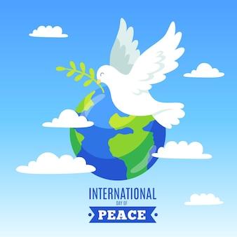 Международный день мира с землей и голубем Бесплатные векторы