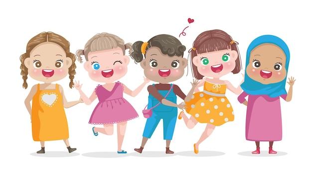 여자 아이의 국제 날 다민족 여자 어린이의 벡터 세트