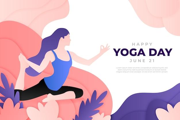 Международный день йоги фон в бумажном стиле