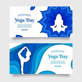 Международный день йоги баннер в бумажном стиле