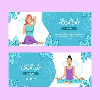 Международный день йоги баннер шаблон