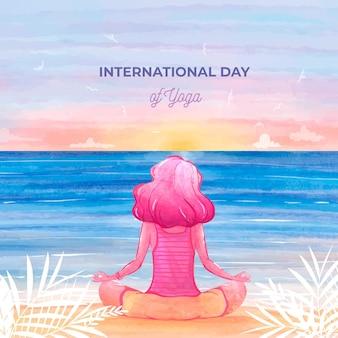Международный день йоги событие акварельные иллюстрации