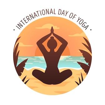 Международный день йоги, плоский дизайн