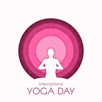 Международный день йоги иллюстрации в бумажном стиле