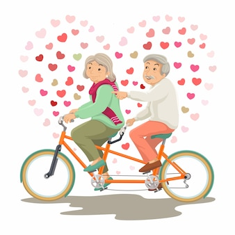 International day of the older persons. grandpa and grandma ride a tandem bike together