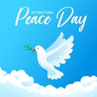 International day of peace banner poster with white bird and olive branch in clear blue sky, illustration.