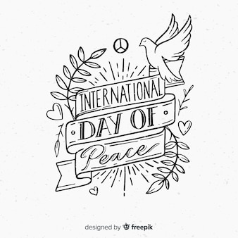 International day of peace composition hand drawn lettering