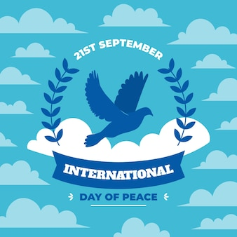 International day of peace flat design background with pigeon