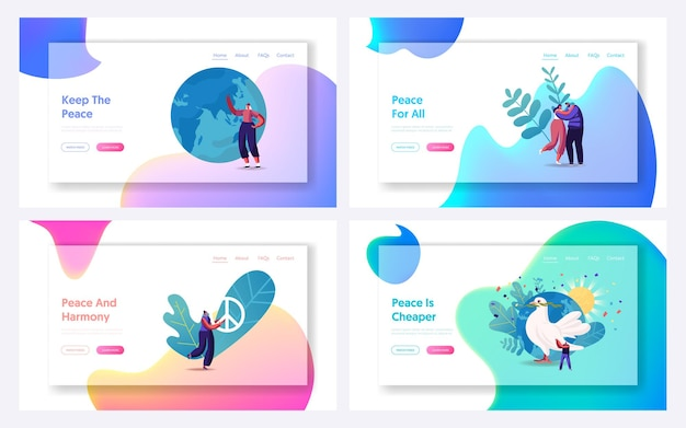 International day of peace landing page template set.