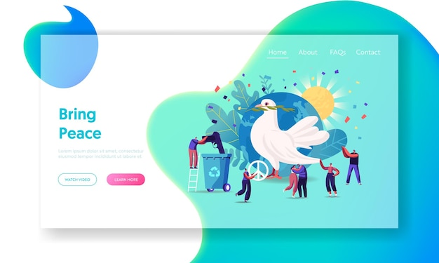 International day of peace landing page template.