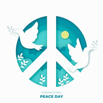 International day of peace in paper style