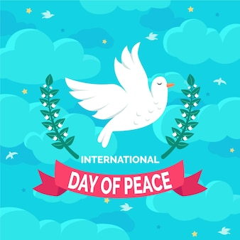 International day of peace with dove and clouds