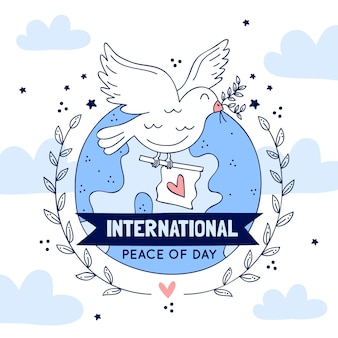 International day of peace with dove and flag