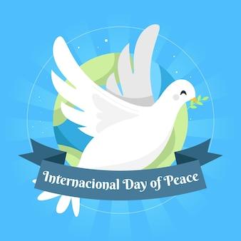 Giornata internazionale della pace con colomba e pianeta
