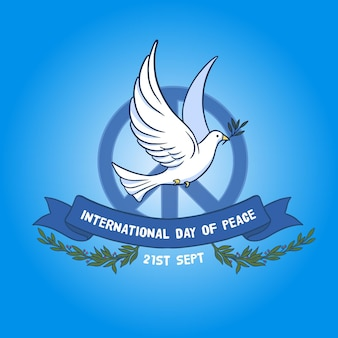 International day of peace with peace sign and dove