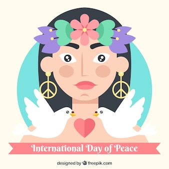International day of peace, a woman, two doves and a heart