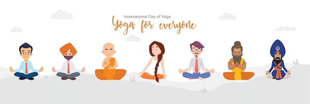 International day of yoga  banner design template