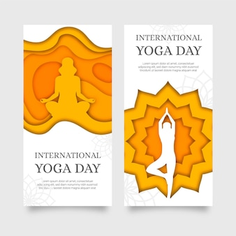 International day of yoga banner in paper style