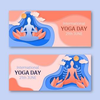 Banner di giornata internazionale di yoga impostato in stile carta