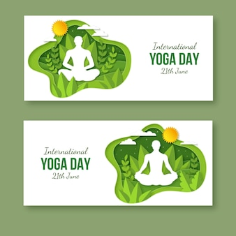 International day of yoga banners set in paper style