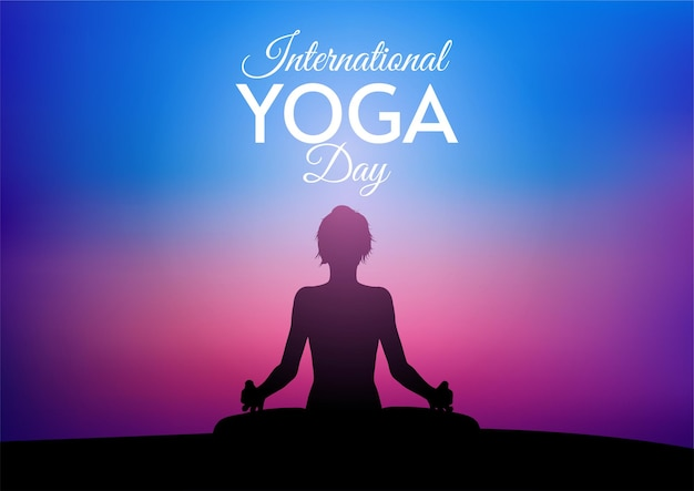 International day of yoga card with female against sunset sky
