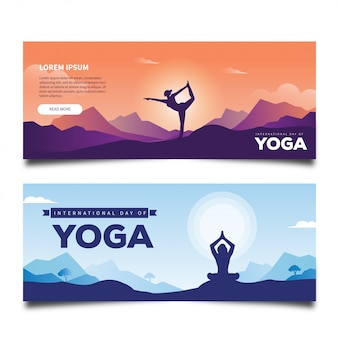 International day of yoga concept banner for social media