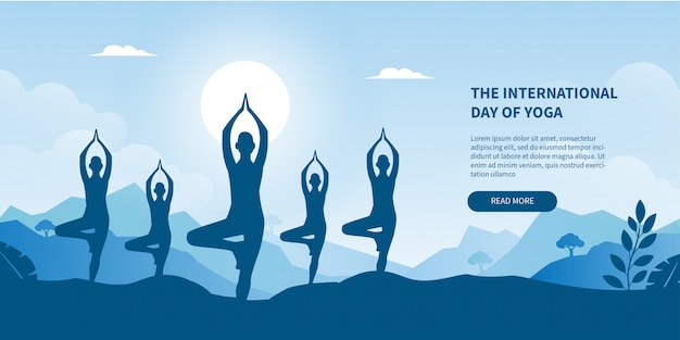 International day of yoga concept gradient banner for landing page