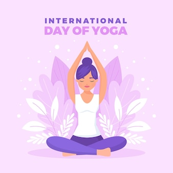 International day of yoga in flat design