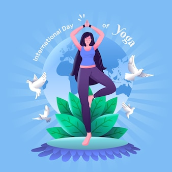 International day of yoga hand drawn design