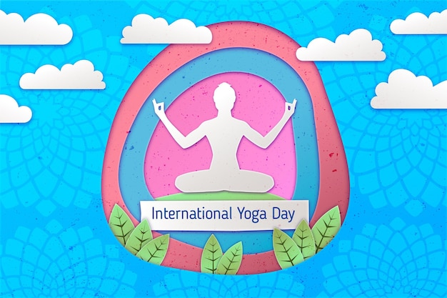 International day of yoga hand drawn