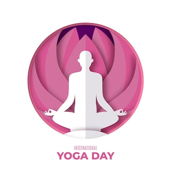 International day of yoga illustration in paper style Free Vector