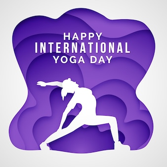 International day of yoga in paper style illustration