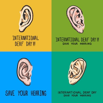 International deaf day banner set