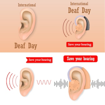 International deaf day hear world banner concept set