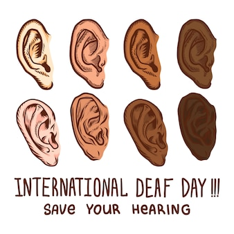 International deaf day icon set