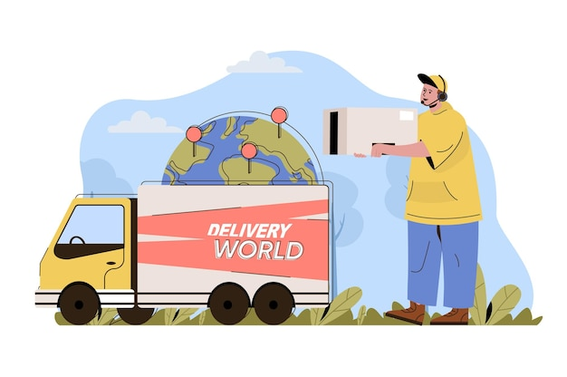 International delivery concept courier carries box truck delivers parcels world