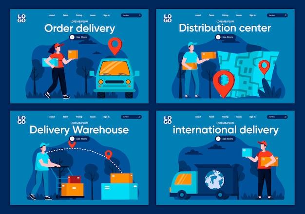 국제 배송 플랫 방문 페이지 설정 웹 사이트 또는 cms 웹 페이지를위한 온라인 주문 및 배송, 전 세계 배송 현장. 유통 센터, 배달 창고 그림.
