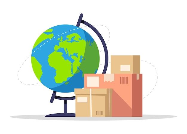 Международная доставка полу плоских цветов rgb векторные иллюстрации. доставка грузов по всему миру. курьерская служба с доставкой по всему миру. картонные пакеты изолированные мультяшный объект на белом фоне