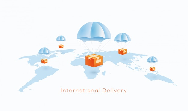 International delivery or world wide shipping concept with package boxes dropping on parachute to world globe map.  illustration