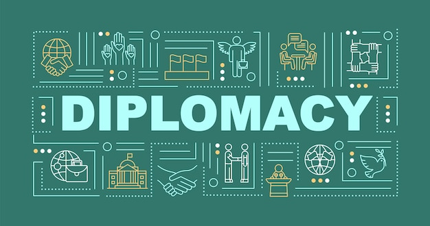 국제 외교 단어 개념 배너입니다. 글로벌 협력. 정치적 평화. 녹색 배경에 선형 아이콘으로 인포 그래픽입니다. 고립 된 인쇄 술입니다. 벡터 개요 rgb 컬러 일러스트