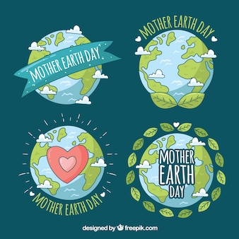 International earth day badges collection