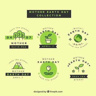 Distintivi internazionali per la giornata della terra in design piatto