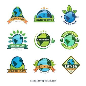 Etichette internazionali per la giornata della terra in design piatto