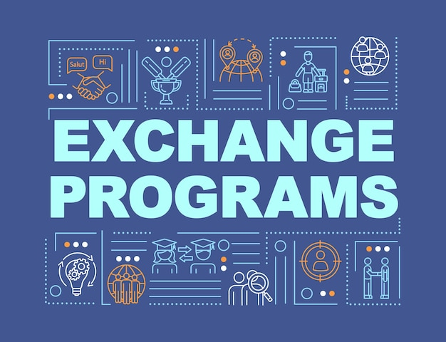 International exchange program word concepts banner. transfer student to foreign school. infographics with linear icons on blue background. isolated typography. vector outline rgb color illustration