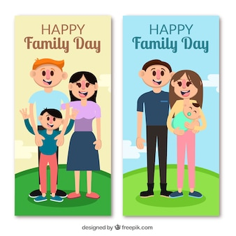 Bandiera internazionale giornata in famiglia con la famiglia in una collina