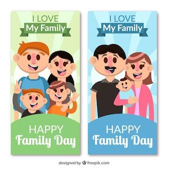 Internazionale striscione giornata in famiglia con la famiglia felice